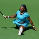 Serena Williams does the splits after returning a shot to Victoria Azarenka, of Belarus, in a final at the BNP Paribas Open tennis tournament, Sunday, March 20, 2016, in Indian Wells, Calif. Azarenka won 6-4, 6-4. (AP Photo/Mark J. Terrill)