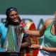Serena Williams, left, jokes behind Victoria Azarenka, of Belarus, after Azarenka defeated her in a final at the BNP Paribas Open tennis tournament, Sunday, March 20, 2016, in Indian Wells, Calif. Azarenka won 6-4, 6-4. (AP Photo/Mark J. Terrill)