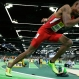 United States' Vernon Norwood takes off from the starting blocks as he competes in a heat of the men's 400-meter sprint during the World Indoor Athletics Championships, Friday, March 18, 2016, in Portland, Ore. Norwood finished second in the heat. (AP Photo/Elaine Thompson)