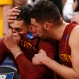 Iowa State's Abdel Nader talks to Georges Niang int he final sends of a college basketball game against Virginia in the regional semifinals of the NCAA Tournament, Friday, March 25, 2016, in Chicago. Virginia won 84-71. (AP Photo/Charles Rex Arbogast)