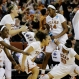 Texas players celebrate during a second-round women's college basketball game against Missouri in the NCAA Tournament, Monday, March 21, 2016, in Austin, Texas. Texas won 73-55. (AP Photo/Eric Gay)