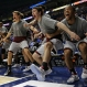 Texas A&M players celebrate from the bench during the second half of an NCAA college basketball game against LSU in the Southeastern Conference tournament in Nashville, Tenn., Saturday, March 12, 2016. (AP Photo/Mark Humphrey)