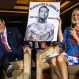 Republican presidential candidate Sen. Ted Cruz, R-Texas reacts to a poster displayed by moderator Rebecca Hagelin during a campaign stop, Wednesday, March 30, 2016, in Madison, Wis. (AP Photo/Andy Manis)