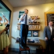 Republican presidential candidate Sen. Marco Rubio, R-Fla., speaks to supporters while standing on a chair at campaign stop at the Maple Street Biscuit Company in Jacksonville, Fla., Monday, March 14, 2016. (AP Photo/Stephen B. Morton)