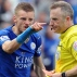 Leicester City's Jamie Vardy gestures to referee Jonathan Moss after being given a second yellow card and sent off during the English Premier League soccer match between Leicester City and West Ham United at the King Power Stadium in Leicester, England, Sunday, April 17, 2016. (AP Photo/Rui Vieira)