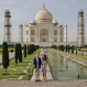 Britain's Prince William, along with his wife, Kate, the Duchess of Cambridge, pose in front of the Taj Mahal in Agra, India, Saturday, April 16, 2016. Agra is the last stop on the royal couple's weeklong visit to India and neighboring Bhutan. (AP Photo/Saurabh Das)