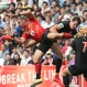 Rican Viljoen, of Japan's Sunwolves, left, and Emiliano Boffelli, of Argentina's Jaguares, battle for the ball during their Super Rugby match in Tokyo, Saturday, April 23, 2016. (AP Photo/Koji Sasahara)