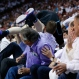 Charlotte Hornets center Cody Zeller flies over fans as he chases a loose ball during the first half in Game 5 of an NBA basketball playoffs first-round series against the Miami Heat, Wednesday, April 27, 2016, in Miami. (AP Photo/Wilfredo Lee)