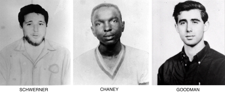 """On June 29, 1964, the FBI began distributing these pictures of civil rights workers, from left, Michael Schwerner, 24, of New York, James Chaney, 21, from Mississippi, and Andrew Goodman, 20, of New York, who disappeared near Philadelphia, Miss., June 21, 1964. The three civil rights workers, part of the """"Freedom Summer"""" program, were abducted, killed and buried in an earthen dam in rural Neshoba County. (AP Photo/FBI)"""