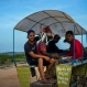 """In this June 11, 2016 photo, a message that reads in Spanish """"It's not the best but it's mine"""" adorns a horse-drawn wagon with men selling sea-caught fish as they ride along the coastline near Gibara in Cuba's Holguin province. Amid the rise in visitors to the region where Fidel Castro was born, which includes the provincial capital of Holguin, locals farm, raise livestock and travel the area's dirt roads by bicycle and horse cart. (AP Photo/Ramon Espinosa)"""