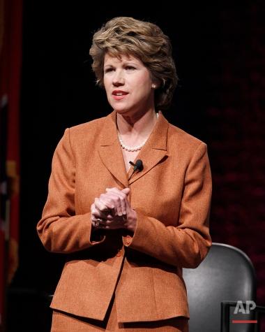 Former Rep. Kim McMillan , D-Clarksville, takes part in a gubernatorial forum on Jan. 14, 2010, in Nashville, Tenn. (AP Photo/Mark Humphrey)