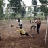 Congolese children play soccer on a dirt field in Goma, Democratic Republic of Congo, Saturday June 18, 2016. One goal was scored with the old deflated ball the children use to play with. (AP Photo/Jerome Delay)