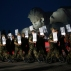 Soldiers of Belarusian army carry portraits of fortress' defenders in front of the most important Soviet WWII war monuments during a ceremony to mark the Day of Remembrance and Sorrow, on the 75th anniversary of Germany's attack on the Soviet Union in World War II in the Brest Fortress memorial, 360 kilometers (225 miles) southwest of Minsk, Belarus, early Wednesday, June 22, 2016. The garrison of the 19-century fortress was encircled hours after the Nazis invaded the Soviet Union on June 22, 1941, but the Brest fortress' Soviet defenders held out for 28 days. (AP Photo/Sergei Grits)
