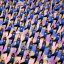 People demonstrate a yoga pose in an indoor stadium in Hanoi, Vietnam, Sunday, July 26, 2016. About 1,000 yoga practitioners participated in the mass performance to celebrate the annual International Yoga Day. (AP Photo/Hau Dinh)