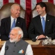 Vice President Joe Biden and House Speaker Paul Ryan of Wis., laugh as Indian Prime Minister Narendra Modi addresses a joint meeting of Congress on Capitol Hill in Washington, Wednesday, June 8, 2016. (AP Photo/Evan Vucci)