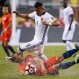 Colombia's Roger Martinez (9) top, goes over Chile's Francisco Silva (5) as they try to control the ball during a Copa America Centenario semifinal soccer match at Soldier Field in Chicago, Wednesday, June 22, 2016. (AP Photo/Charles Rex Arbogast)