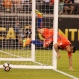 Chile's Gary Medel collides into his team's goal while trying to stop a near goal by Argentina's Gonzalo Higuain (9) during the first half of the Copa America Centenario championship soccer match, Sunday, June 26, 2016, in East Rutherford, N.J. (AP Photo/Frank Franklin II)