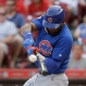 Chicago Cubs' Jason Heyward breaks his bat on a single hit off Cincinnati Reds starting pitcher Dan Straily in the first inning of a baseball game, Monday, June 27, 2016, in Cincinnati. (AP Photo/John Minchillo)