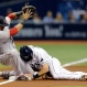 Tampa Bay Rays' Logan Forsythe, right, slides into third base as the ball gets away from Boston Red Sox third baseman Marco Hernandez on a single by Evan Longoria during the first inning of a baseball game Monday, June 27, 2016, in St. Petersburg, Fla. (AP Photo/Chris O'Meara)