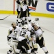 Pittsburgh Penguins players celebrate after beating the San Jose Sharks in Game 6 of the NHL hockey Stanley Cup Finals in San Jose, Calif., Sunday, June 12, 2016. The Penguins won 3-1 to win the series 4-2. (AP Photo/Eric Risberg)