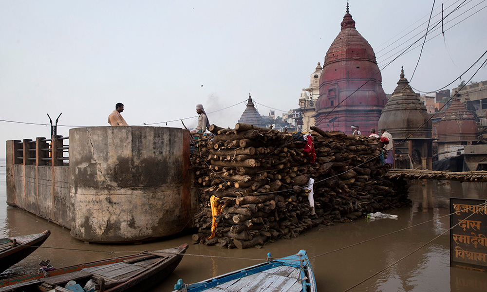 Ganges Overflows Its Banks in Indian Holy Town