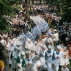 Orthodox believers and clergymen march to prayer in downtown Kiev, Ukraine, Wednesday, July 27, 2016, in observance of the holiday marking the adoption of Christianity by what is now Russia and Ukraine in the 10th century. They are to commemorate the day at the hillside monument in central Kiev to Saint Volodymyr, the prince who enacted the adoption of Christianity. (AP Photo/Efrem Lukatsky)