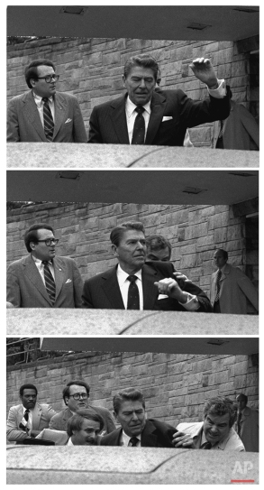 In this March 30, 1981 black-and-white three picture combo photo, President Reagan waves, then looks up before being shoved into Presidential limousine by Secret Service agents after being shot outside a hotel in Washington. John Hinckley Jr. shot four people outside a Washington hotel on March 30, 1981, but two of his victims understandably got most of the attention: President Ronald Reagan and his press secretary, James Brady. Former Secret Service agent Timothy McCarthy and former District of Columbia police officer Thomas Delahanty, both of whom took bullets to protect the president. (AP Photo/Ron Edmonds)