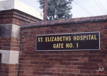 This is a sign at the exterior of St. Elizabeth's Hospital in Washington where presidential would-be assassin John W. Hinckley Jr. is being held, pictured June 30, 1982. (AP Photo/Bruce Hoertel)